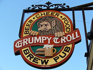 Sign for the Grumpy Troll pub in Mount Horeb.