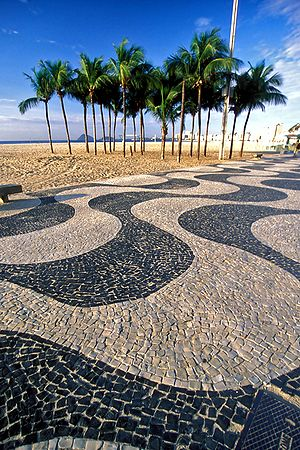 The pavement of Copacabana Beach, Rio de Janei...