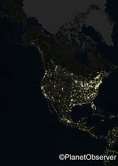 North America at night - Satellite image - Pla...