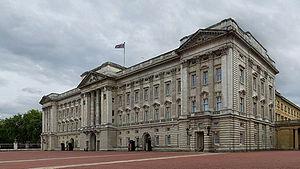 A 4 x 7 segment mosaic of Buckingham Palace, L...