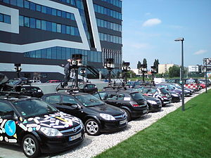 English: Google Streetview cars parking in fro...