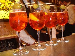 Typical Venetian coctail Spritz, as it is prep...