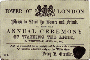 English: A ticket to the washing of the lion, ...