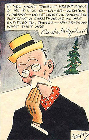 Christmas card with Caspar Milquetoast by H. T...